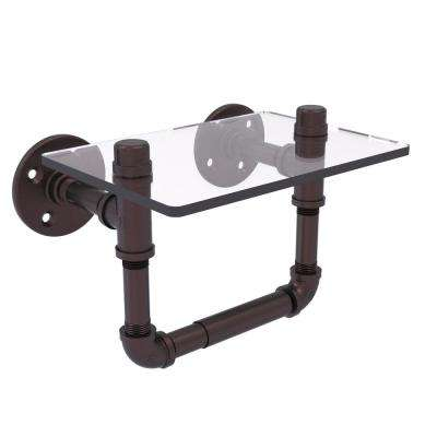Pipeline Collection Wall-Mount Toilet Tissue Holder with Glass Shelf in Antique Bronze