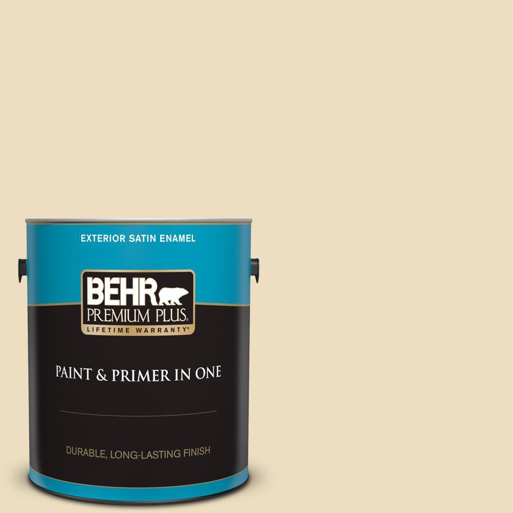 Behr Premium Plus 1 Gal Home Decorators Collection Hdc Nt 17 New Cream Satin Enamel Exterior Paint Primer 905001 The Home Depot
