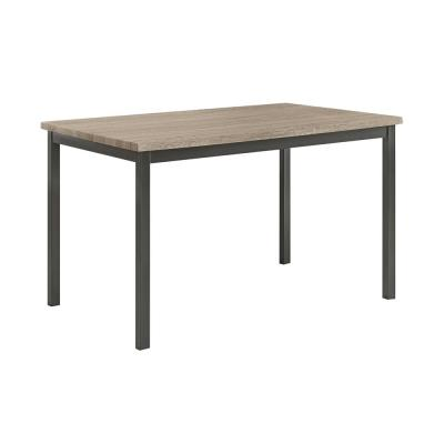 Contemporary Gray and Black Metal Dining Table With Wooden Top