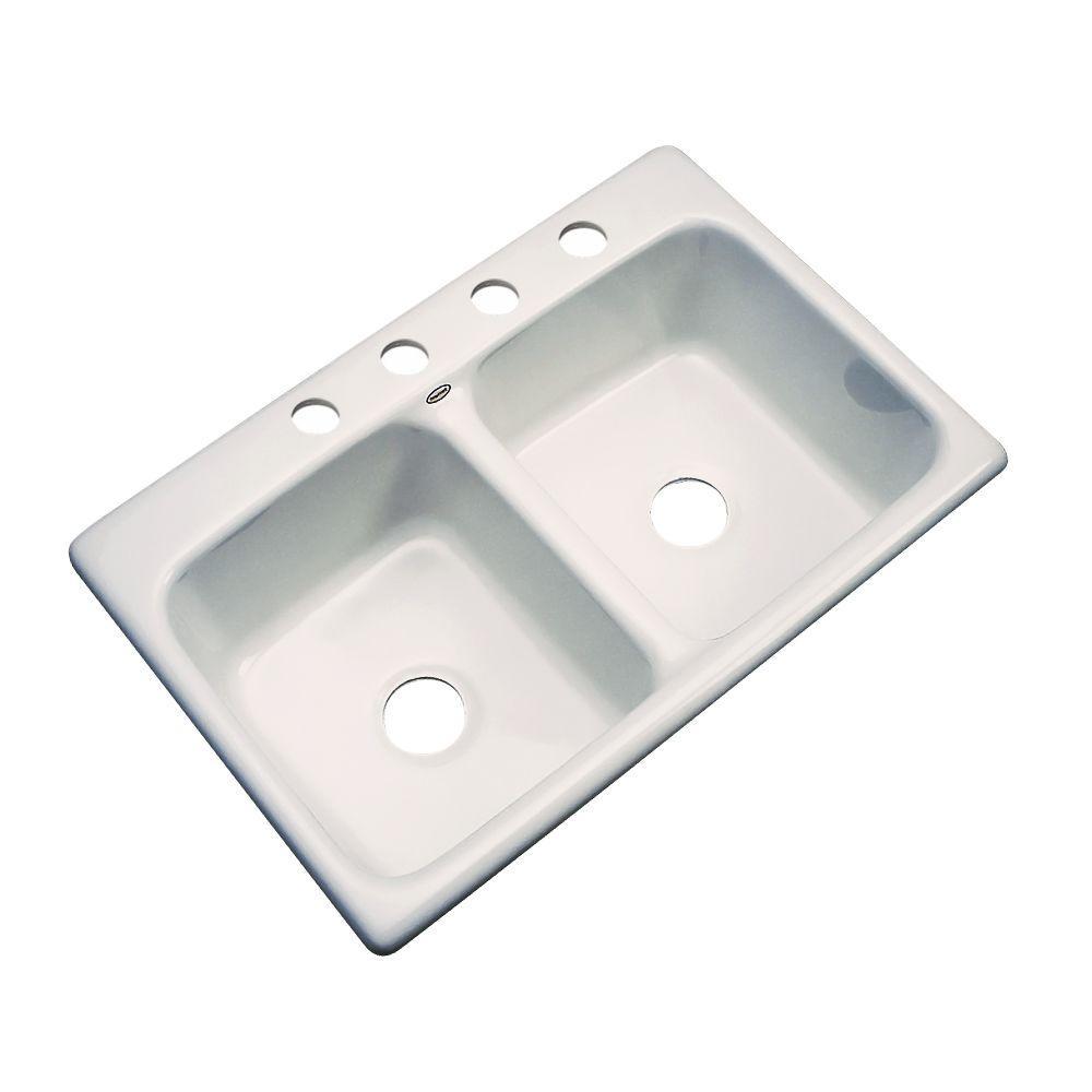 Newport Drop-In Acrylic 33 in. 4-Hole Double Bowl Kitchen Sink in