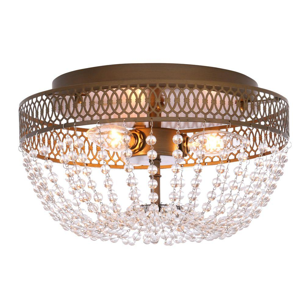 Hampton Bay Ceiling Light Fixtures: Hampton Bay Estelle 3-Light Champagne Flushmount