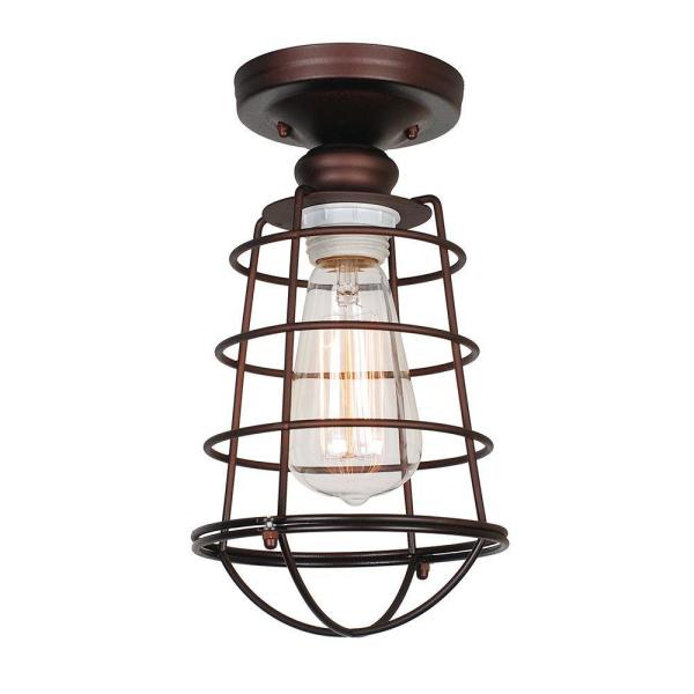 Ajax Collection 1-Light Textured Coffee Bronze Indoor Ceiling Mount
