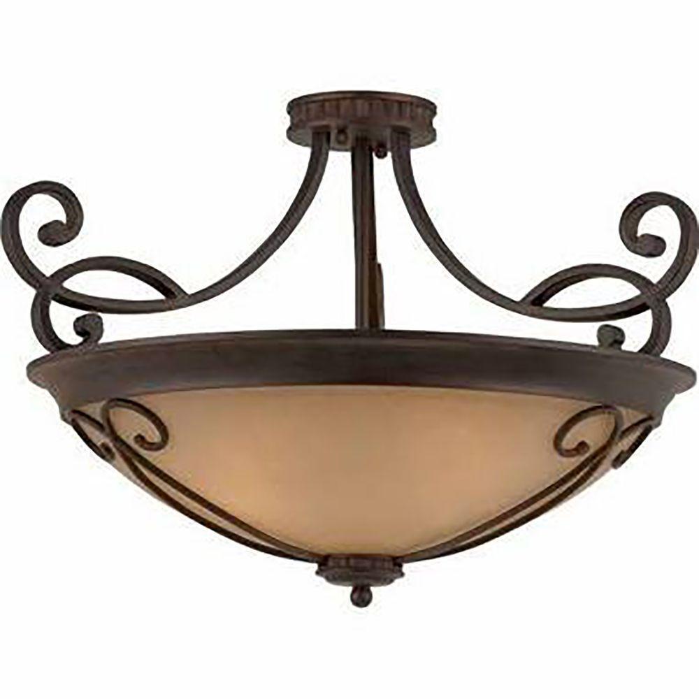 Charry 4-Light Bronze Semi-Flush Mount Light