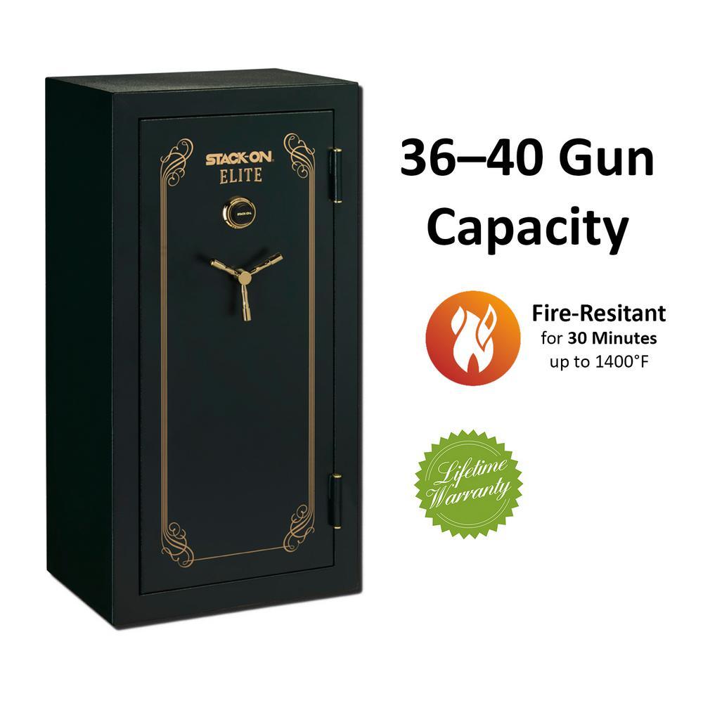Elite 40-Gun Fire Resistant Combination Lock Safe, Matte Green by Elite