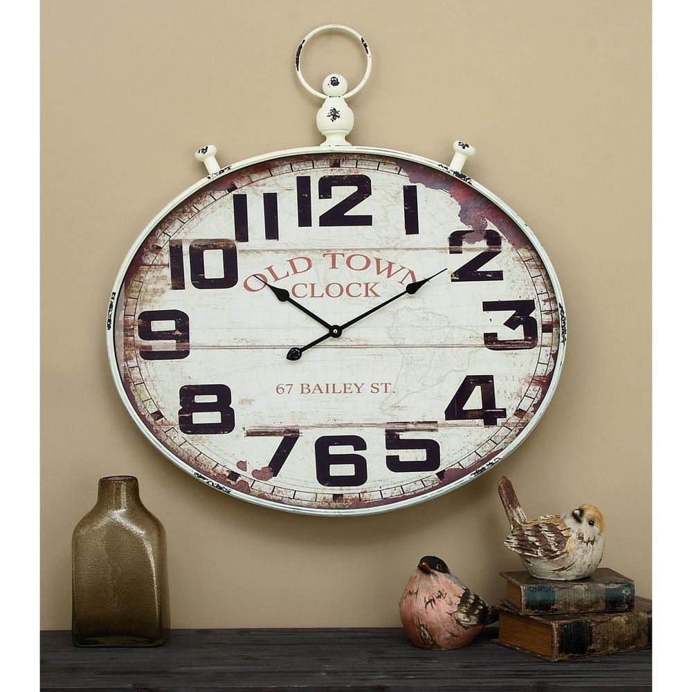 36 in x 32 in wood and metal wall clock 92225 the home depot wood and metal wall clock amipublicfo Image collections