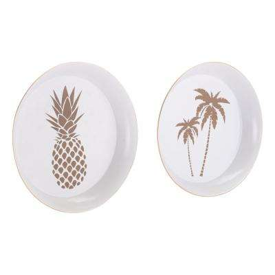 Palm Tree and Pineapple White and Gold Tray (Set of 2)