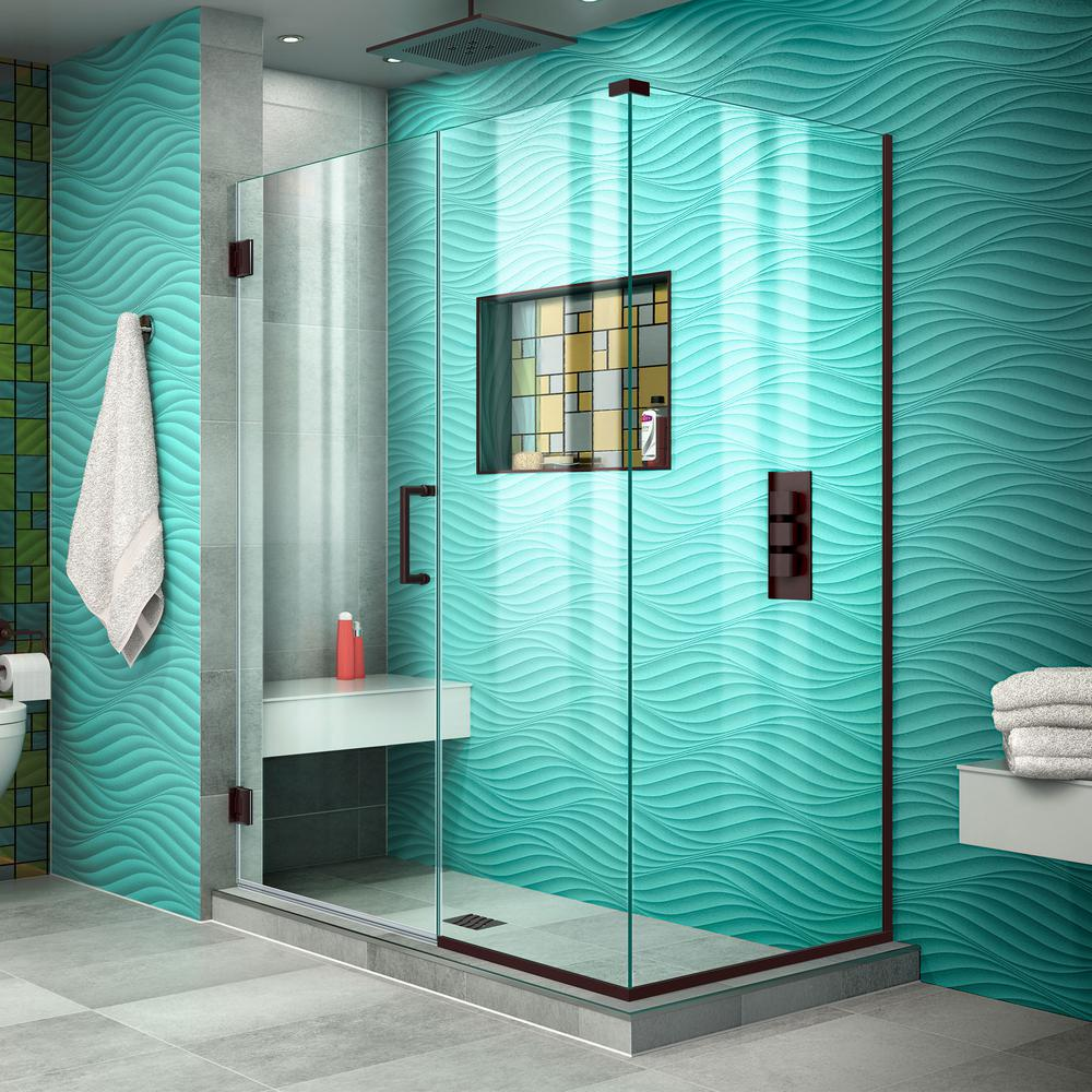 DreamLine Unidoor Plus 30-3/8 in. x 49-1/2 in. x 72 in. Frameless Hinged Corner Shower Enclosure in Oil Rubbed Bronze