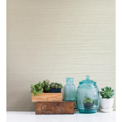 Martina White Grasscloth Wallpaper