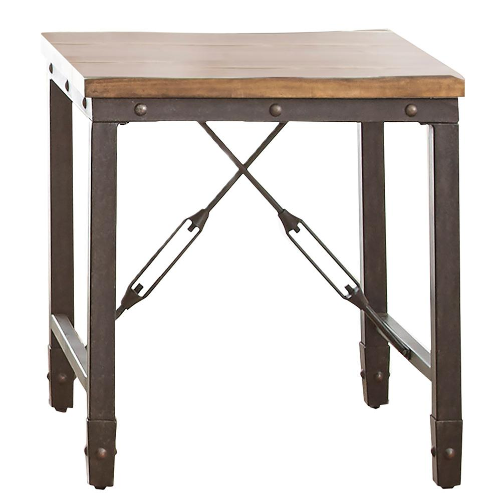 Ashford Antique Honey Pine And Iron Industrial End Table