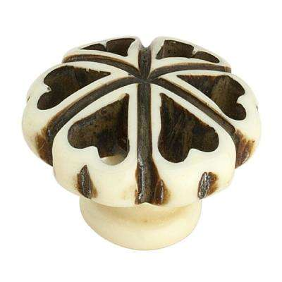 Hand Crafted Resin Heart 1-3/8 in. (35 mm) Cream and Black Cabinet Knob