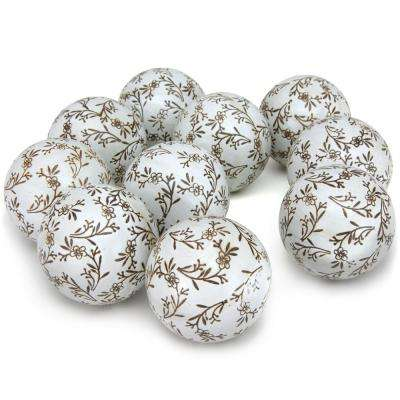 Oriental Furniture 3 in. Small Flowers Porcelain Ball Set