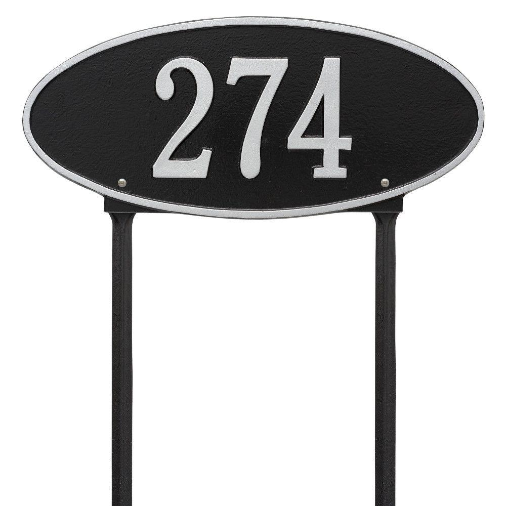 Whitehall Products Madison Oval Standard Lawn 1-Line Address Plaque - Black/Silver