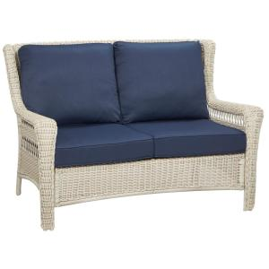 Hampton Bay Park Meadows Off-White Wicker Outdoor Loveseat with Midnight Cushion by Hampton Bay