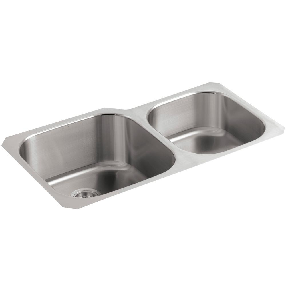 KOHLER Undertone Extra Large/Medium Undercounter Stainless Steel 35.125 In.  0 Hole Double