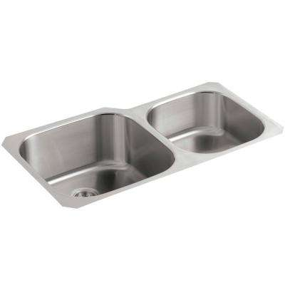 Undertone Extra-Large/Medium Undercounter Stainless Steel 35 in. Double Bowl Kitchen Sink