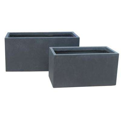 31 in. L Charcoal Lightweight Concrete Modern Long Low Granite Outdoor Planter (Set of 2)