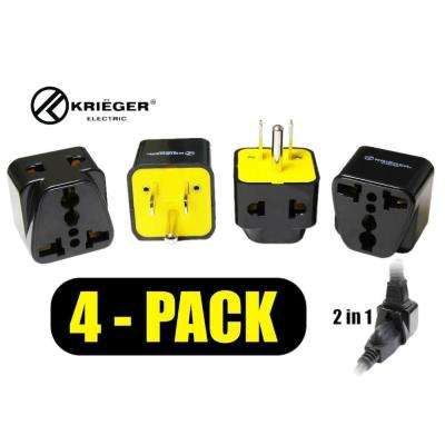 Universal to American 2-in-1 Plug Adapter (4-Pack)