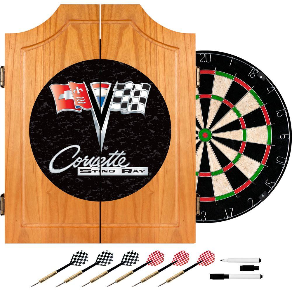 Trademark Corvette C2 Black Wood Finish Dart Cabinet Set
