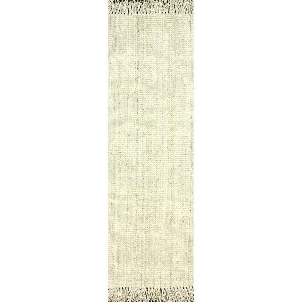 nuLOOM Natura Collection Chunky Loop Jute Off White 3 ft. x 8 ft. Runner