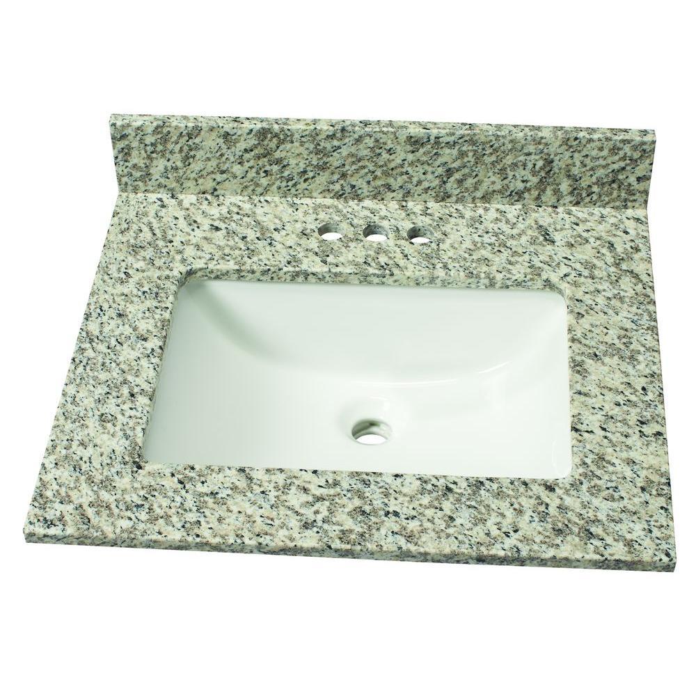 25 in. W Granite Single Basin Vanity Top in Blanco Perla with White Basin
