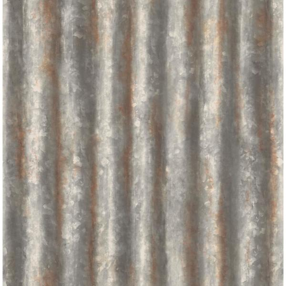 Kirkland Charcoal Corrugated Metal Wallpaper