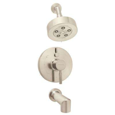 Neo 1-Handle 3-Spray Tub and Shower Faucet Combination in Brushed Nickel (Valve Included)
