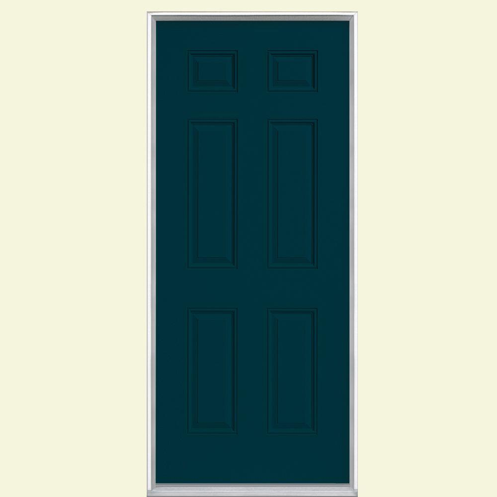 Masonite 30 in. x 80 in. 6-Panel Left Hand Inswing Painted Steel Prehung Front Door with Brickmold