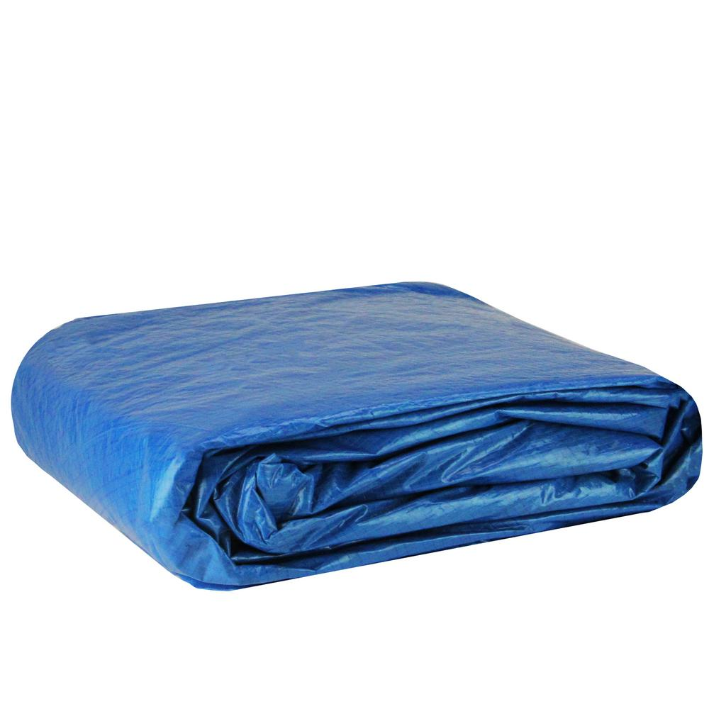 Pool Central 18.4 ft. Durable Apertured Round Blue Swimming Solar Above Ground Pool Cover with Rope Ties