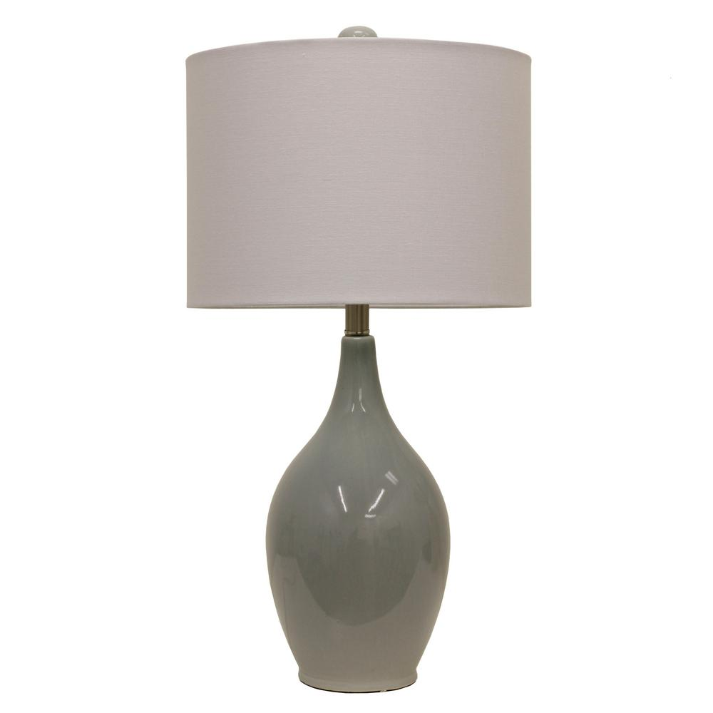 French Blue Table Lamp With Linen Shade