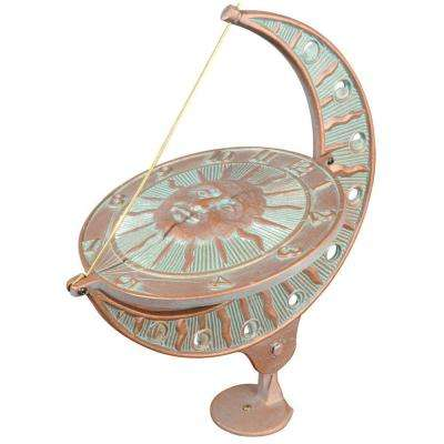 Copper Verdigris Sun and Moon Sundial