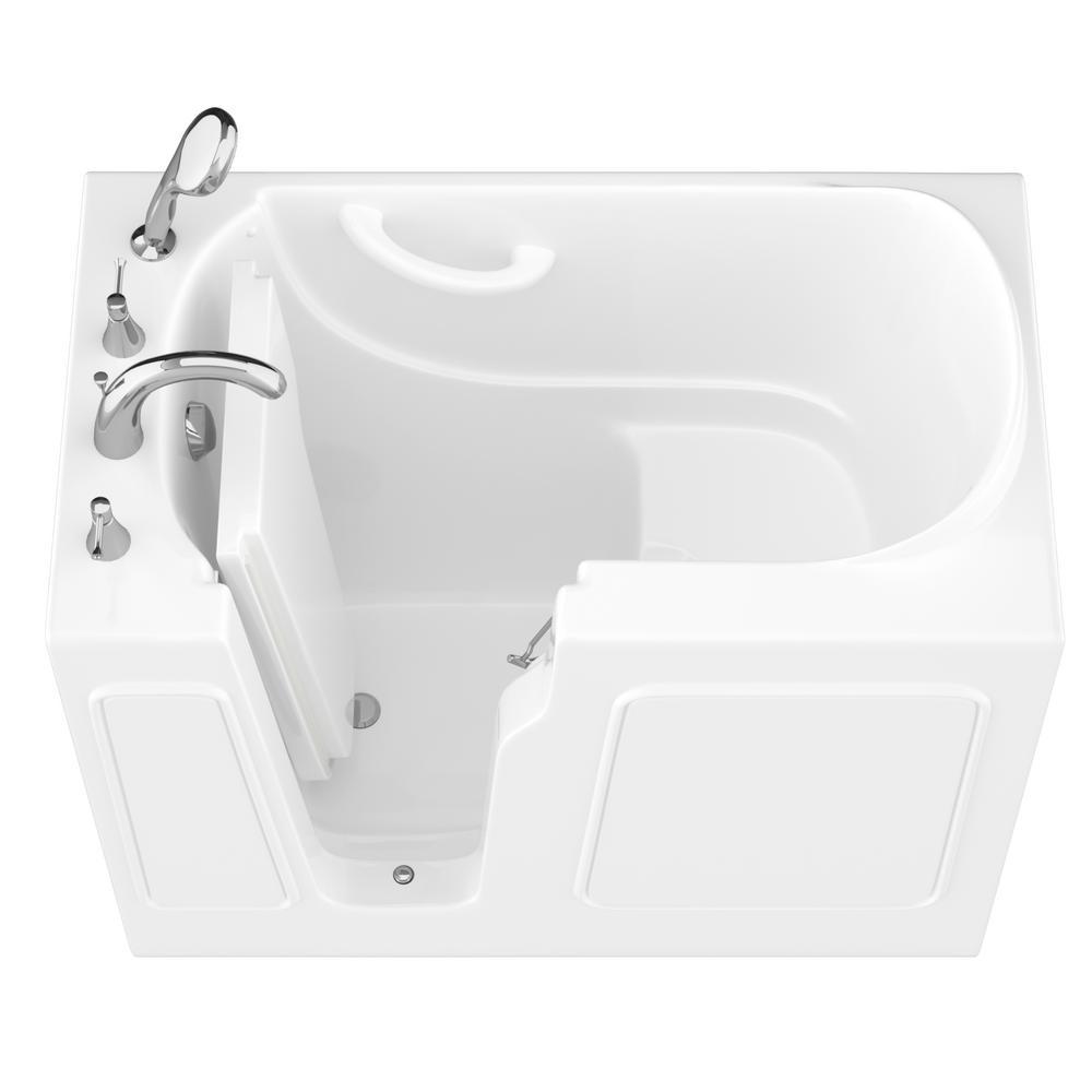 HD Series 26 in. x 46 in. Left Drain Quick Fill Walk-In Soaking Bathtub in White
