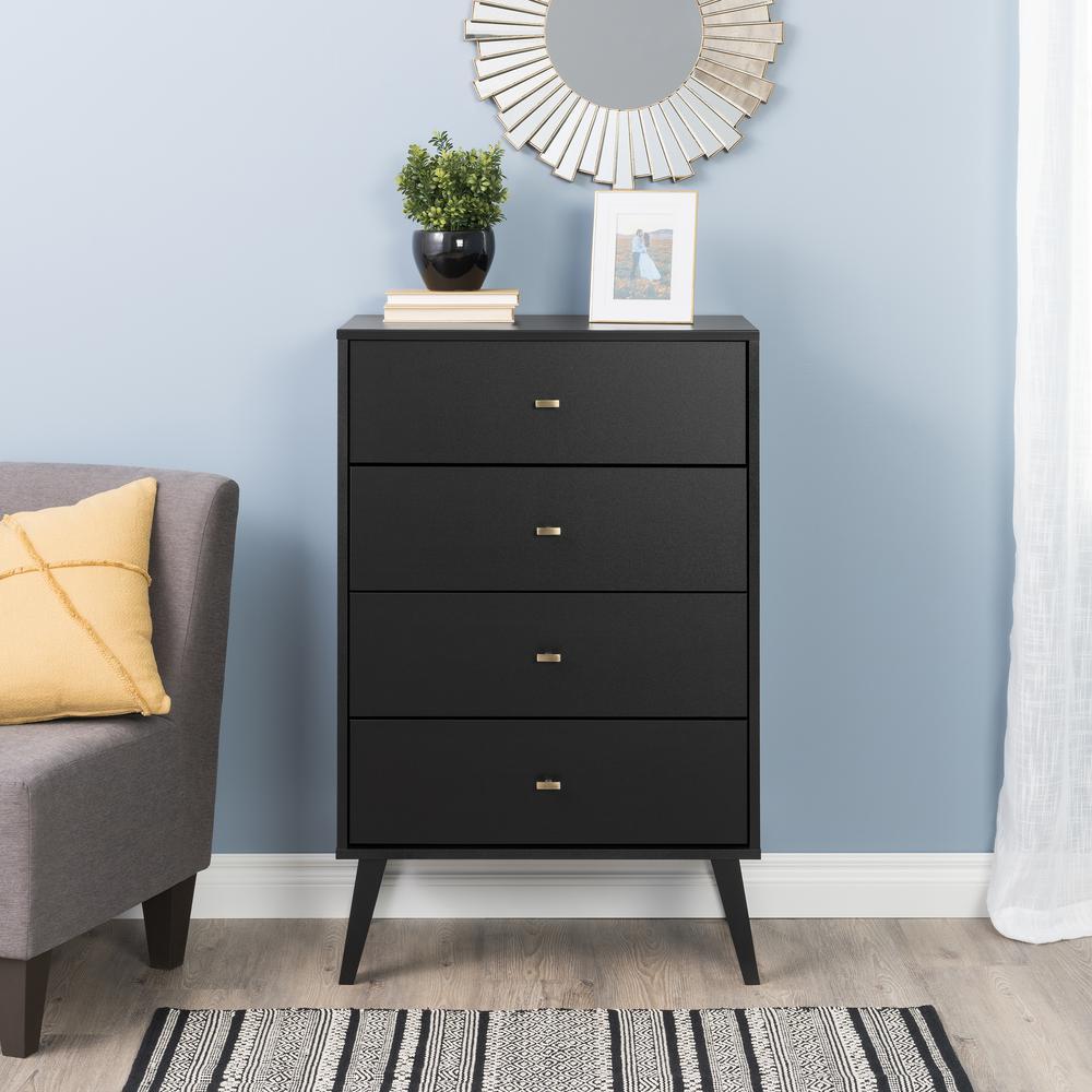 Excellent Prepac 4 Drawer Black Milo Mid Century Modern Chest Bdbr Short Links Chair Design For Home Short Linksinfo