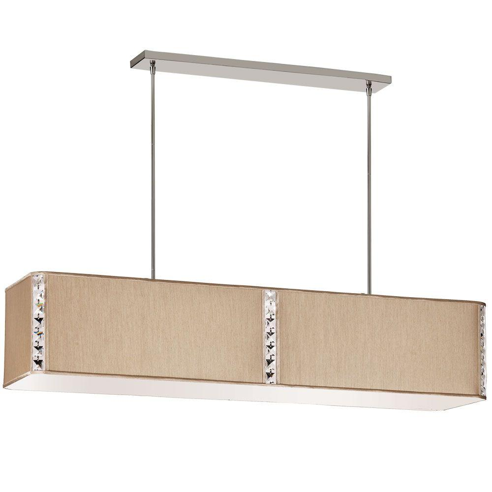 Radionic Hi Tech Elise 4-Light Latte Rectangular Ceiling Fixture with Crystal Accents and Latte Silk Glow Rectangular Shade