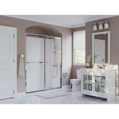 Paragon 42 in. to 43.5 in. x 70 in. Framed Sliding Shower Door with Towel Bar in Chrome and Clear Glass