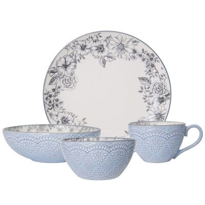 16-Piece Gabriela Gray Dinnerware Set