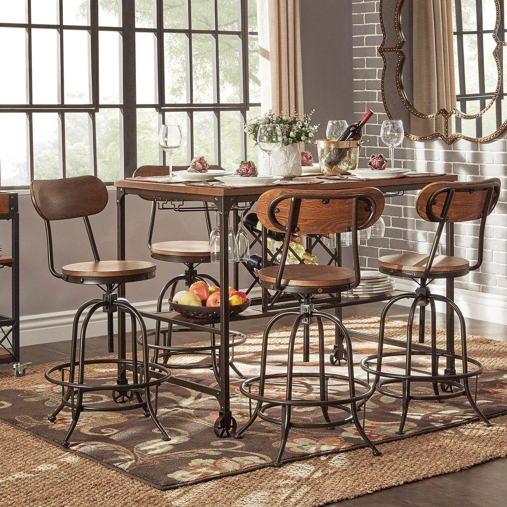 Kitchen Bar Dining Table: HomeSullivan Olson 5-Piece Brown Bar Table Set-405429