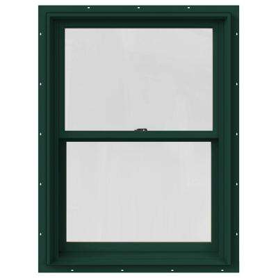33.375 in. x 36 in. W-2500 Series Green Painted Clad Wood Double Hung Window w/ Natural Interior and Screen