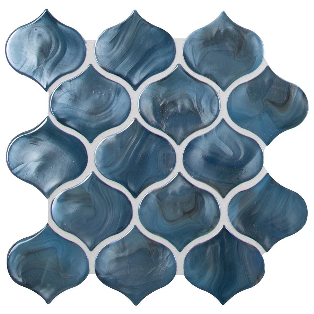 Msi Blue Shimmer Arabesque 10 In X 10 20 In X 8mm Glass Mesh Mounted Mosaic Tile 0 71 Sq Ft