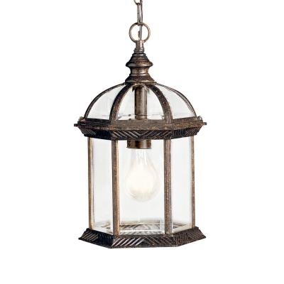 Barrie 1-Light Tannery Bronze Outdoor Pendant Light with Clear Beveled Glass Panels