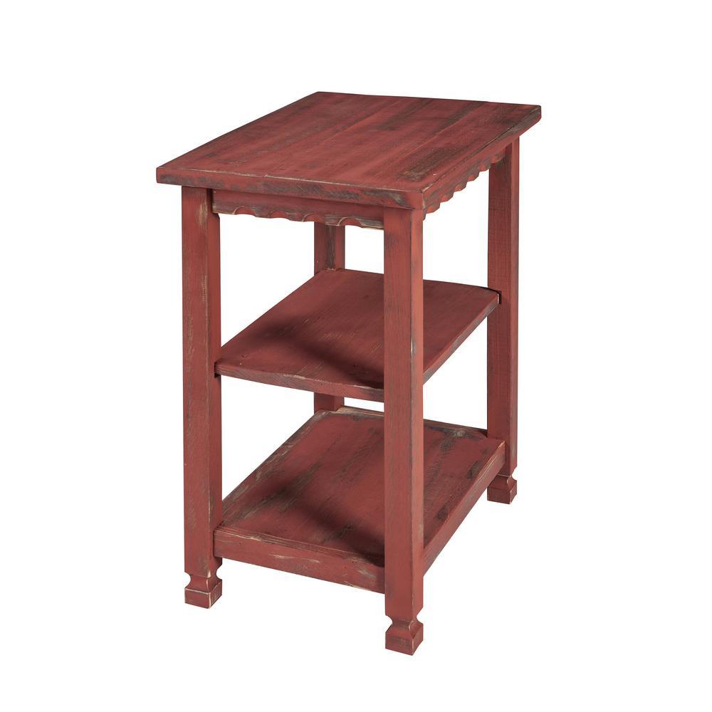 Sensational Alaterre Furniture Country Cottage Red Antique 2 Shelf End Short Links Chair Design For Home Short Linksinfo