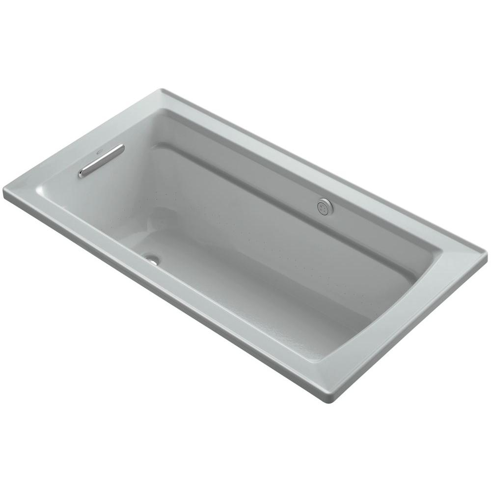 Archer 5 ft. Acrylic Rectangular Drop-in Whirlpool Bathtub in Ice Grey