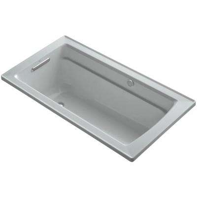 Archer 5 ft. Acrylic Rectangular Drop-in Whirlpool Bathtub in Ice Grey