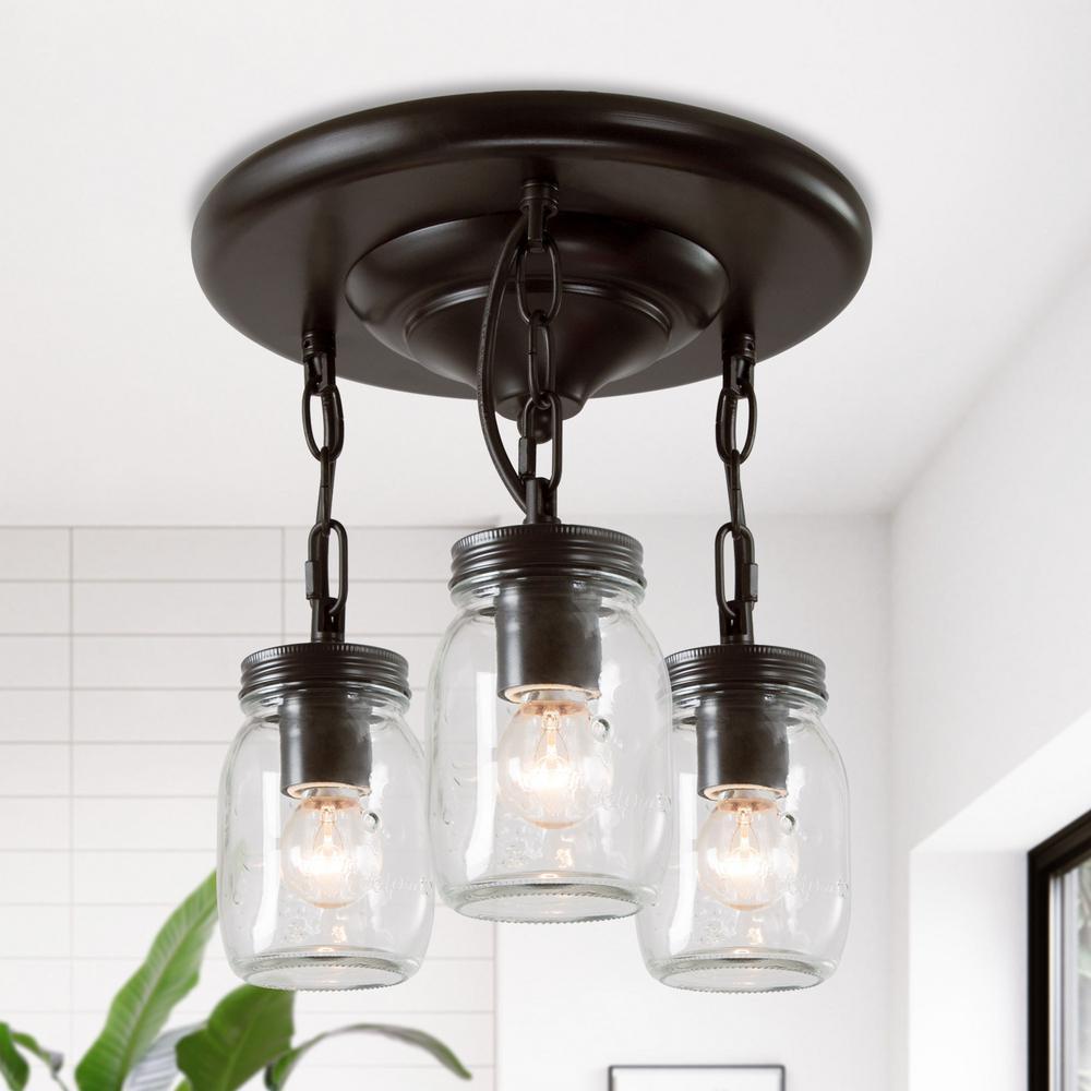 Semi Flush Mount Lighting Towneri 3-Light Oil-Rubbed Bronze Modern Ceiling Light Mason Jar Glass Mini Pendant Light