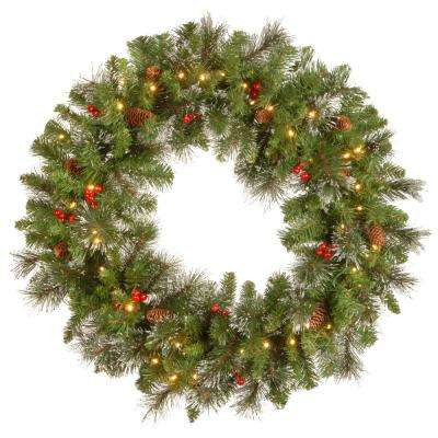 Crestwood Spruce 30 in. Artificial Wreath with Battery Operated Warm White LED Lights