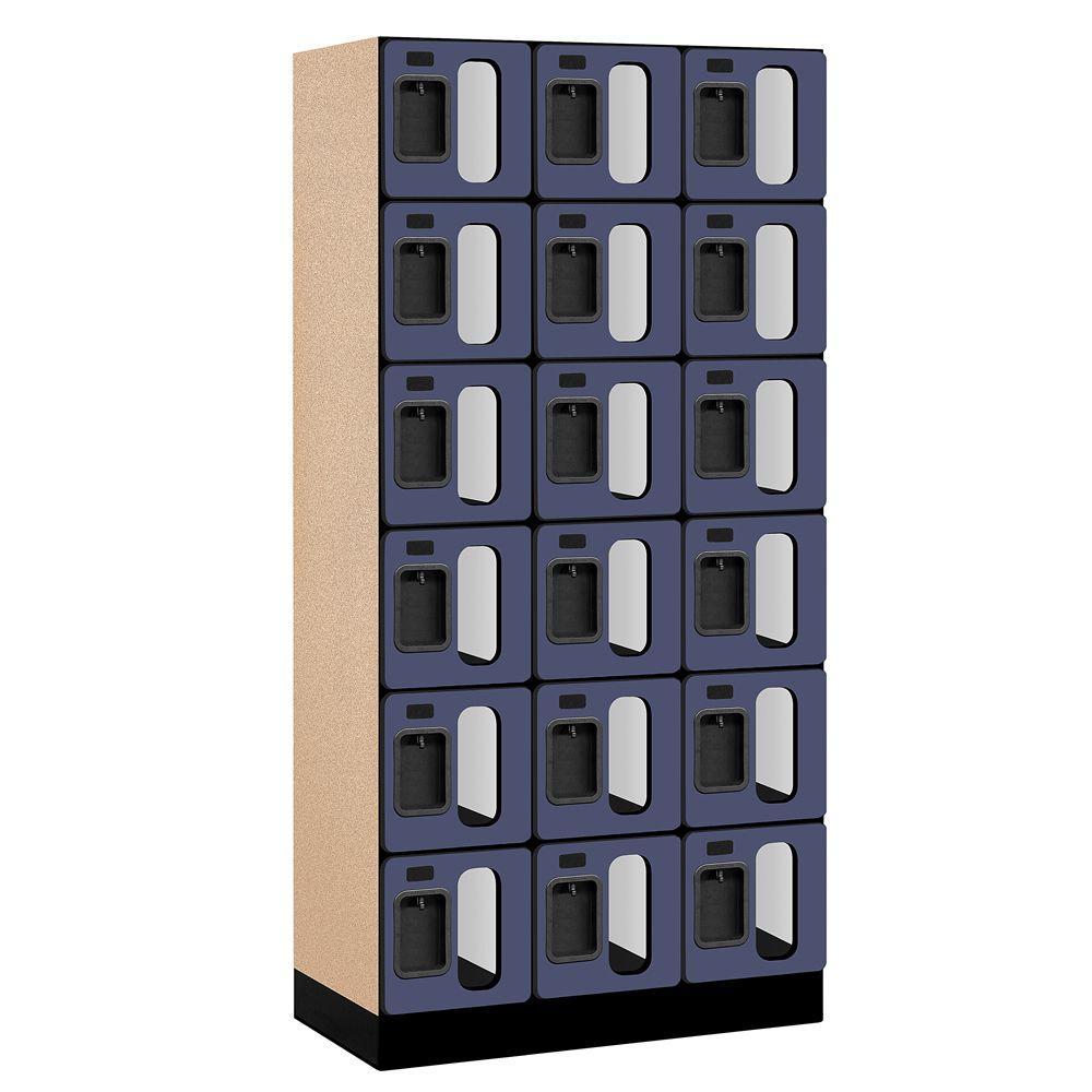 Salsbury Industries S-36000 Series 36 in. W x 76 in. H x 18 in. D 6-Tier Box Style See-Through Designer Wood Locker in Blue