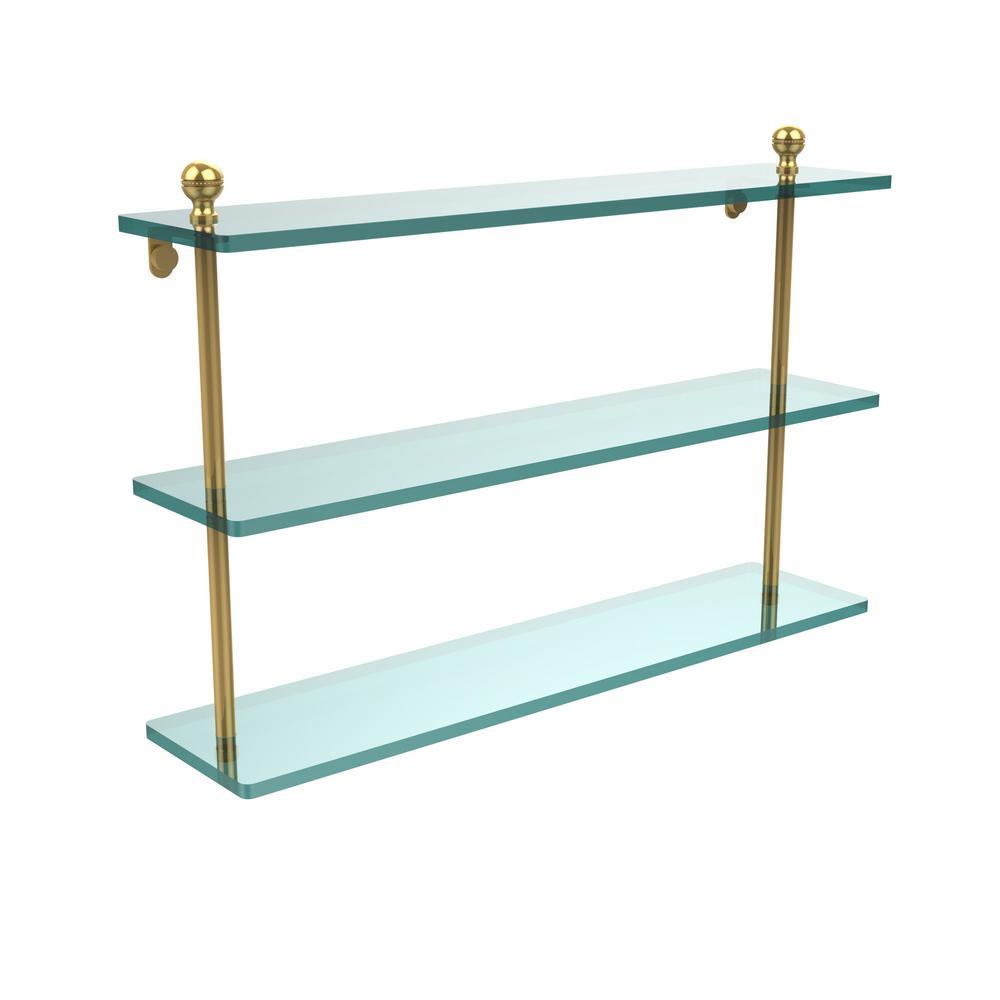 Mambo 22 in. L  x 15 in. H  x 5 in. W 3-Tier Clear Glass Bathroom Shelf in Unlacquered Brass