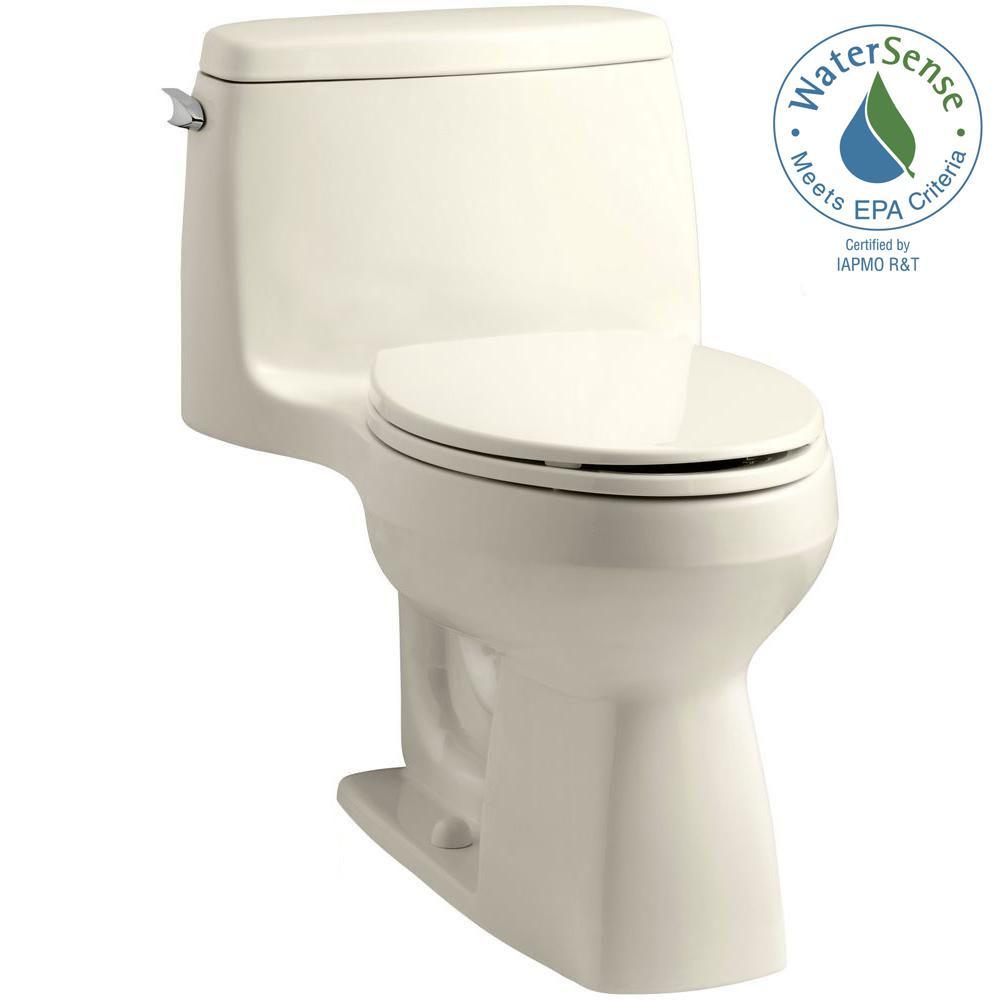 KOHLER Santa Rosa Comfort Height 1-piece 1.28 GPF Single Flush Compact Elongated Toilet with AquaPiston Flush in Almond