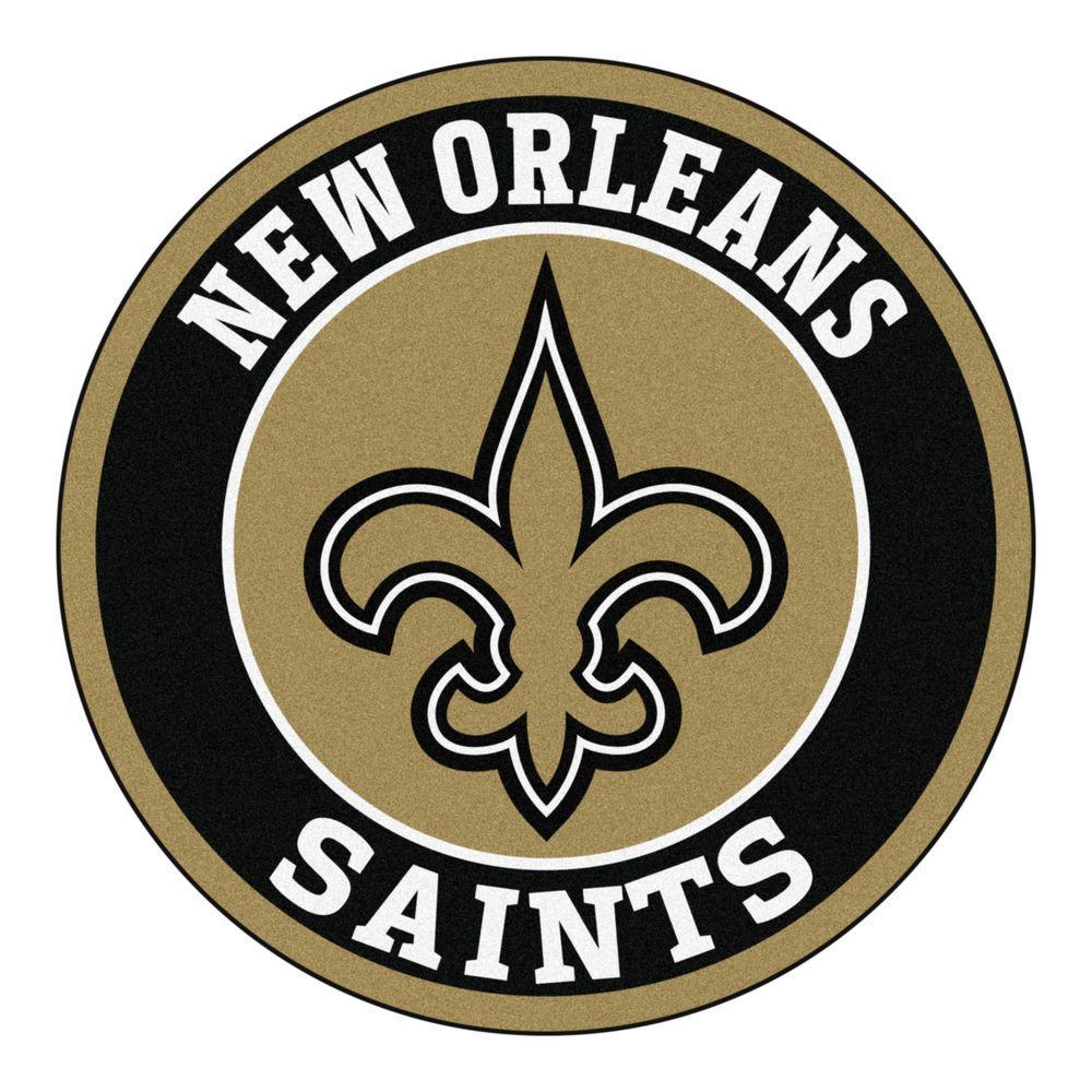 NFL New Orleans Saints Black 2 ft. Round Area Rug