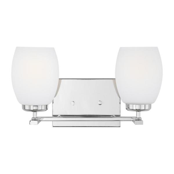 Catlin 14.25 in. 2-Light Chrome Vanity Light with Etched White Inside Glass Shades