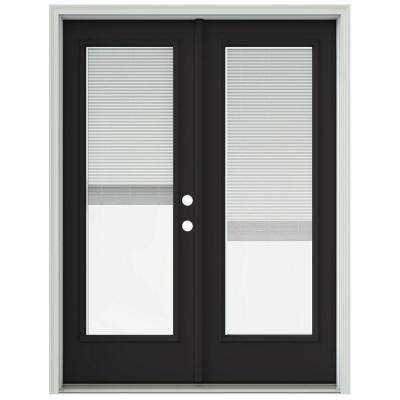 60 in. x 80 in. Chestnut Bronze Painted Steel Left-Hand Inswing Full Lite Glass Active/Stationary Patio Door